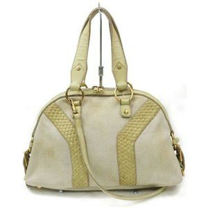 authentic Yves Saint Laurent ysl Bag Beiges Canvas